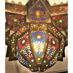 Tiffany Co Fashioned Brass and Colored Glass Chandelier a Pair - 1710473