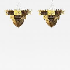 Tiffany Co Fashioned Brass and Colored Glass Chandelier a Pair - 1711140