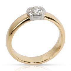Tiffany Co Semi Bezel Diamond Engagement Ring in 18K 2 Tone Gold 0 35 CTW - 1284053
