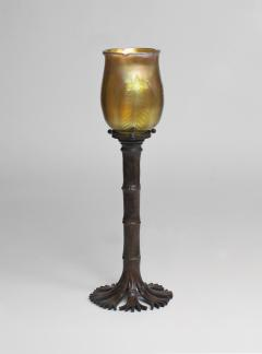 Tiffany Studios Bamboo Candlestick with Blown Favrile Glass Shade - 1127999