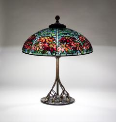 Tiffany Studios Double Poinsettia Shade on Rare Favrile Glass Ball Base - 263613