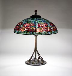Tiffany Studios Double Poinsettia Shade on Rare Favrile Glass Ball Base - 263615