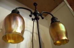 Tiffany Studios Tiffany Studios New York Signed Bronze Double Student Lamp Art Glass Shades - 728792