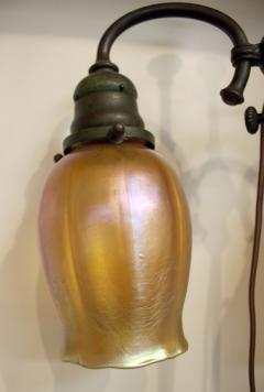 Tiffany Studios Tiffany Studios New York Signed Bronze Double Student Lamp Art Glass Shades - 728793