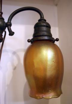 Tiffany Studios Tiffany Studios New York Signed Bronze Double Student Lamp Art Glass Shades - 728794