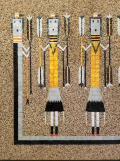 Tile on Sand Mosaic of a Navajo Sand Painting Yei Dancers Rainbow Guardians - 1288199