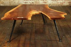 Tim Byrne Industrial Free Form Walnut Coffee Table with Maple Butterfly - 310701