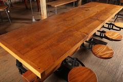 Tim Byrne Swing Out 8 Seat Industrial Brewery Dining Table with Wood Top - 313653