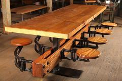 Tim Byrne Swing Out 8 Seat Industrial Brewery Dining Table with Wood Top - 313656