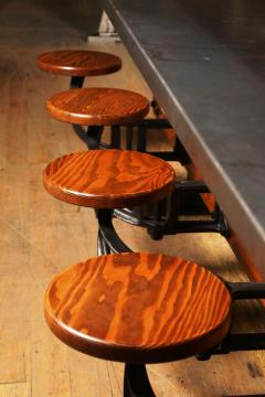 Tim Byrne Swing Out Seat Table With Cast Iron Attached Seats With Steel  Metal Top