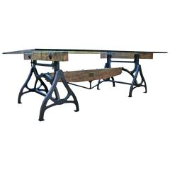 Tim Byrne Vintage Industrial Wood Steel Cast Iron Conference Dining Table - 277393
