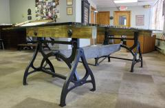 Tim Byrne Vintage Industrial Wood Steel Cast Iron Conference Dining Table - 277394