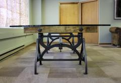 Tim Byrne Vintage Industrial Wood Steel Cast Iron Conference Dining Table - 277395