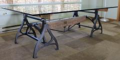 Tim Byrne Vintage Industrial Wood Steel Cast Iron Conference Dining Table - 277398
