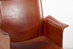 Tito Agnoli Loveseat and Chair by Tito Agnoli for Matteo Grassi in Dark Cognac Leather - 1781440