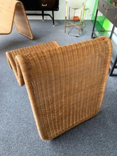 Tito Agnoli Pair of Rattan Lounge Chair P3 by Tito Agnoli Italy 1960s - 1175648