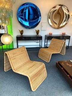 Tito Agnoli Pair of Rattan Lounge Chair P3 by Tito Agnoli Italy 1960s - 1175649