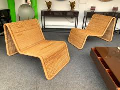Tito Agnoli Pair of Rattan Lounge Chair P3 by Tito Agnoli Italy 1960s - 1175650