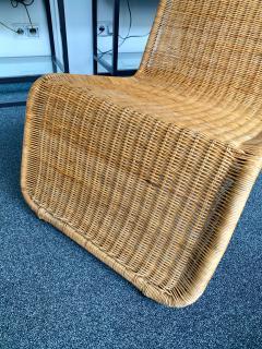 Tito Agnoli Pair of Rattan Lounge Chair P3 by Tito Agnoli Italy 1960s - 1175651