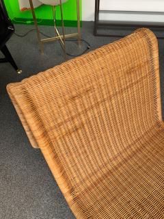 Tito Agnoli Pair of Rattan Lounge Chair P3 by Tito Agnoli Italy 1960s - 1175652