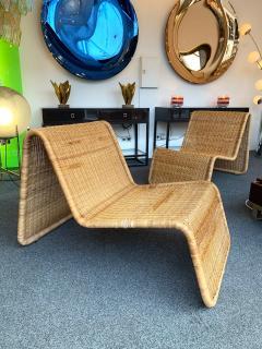 Tito Agnoli Pair of Rattan Lounge Chair P3 by Tito Agnoli Italy 1960s - 1175653