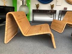 Tito Agnoli Pair of Rattan Lounge Chair P3 by Tito Agnoli Italy 1960s - 1175654