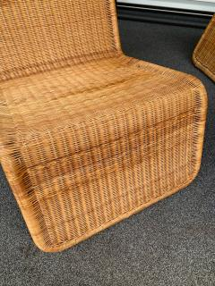 Tito Agnoli Pair of Rattan Lounge Chair P3 by Tito Agnoli Italy 1960s - 1175655