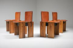 Tobia Scarpa Afra Tobia Scarpa Cognac Dining Chairs 1970s - 1566322