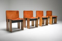 Tobia Scarpa Afra Tobia Scarpa Cognac Dining Chairs 1970s - 1566325