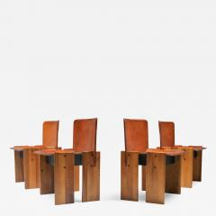 Tobia Scarpa Afra Tobia Scarpa Cognac Dining Chairs 1970s - 1568928