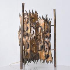 Tom Greene Mid Century Brutalist Brass Torch Cut Table Lamp After Tom Greene - 1873706