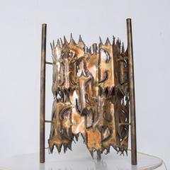 Tom Greene Mid Century Brutalist Brass Torch Cut Table Lamp After Tom Greene - 1873712