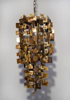 Tom Greene Tom Greene Brutalist Chandelier for Feldman in Torch Cut Brass 1960s - 1741021