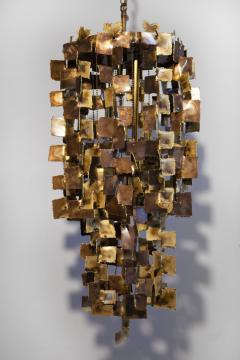 Tom Greene Tom Greene Brutalist Chandelier for Feldman in Torch Cut Brass 1960s - 1741023