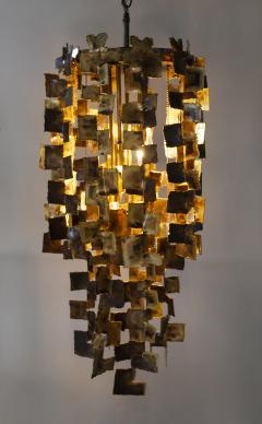 Tom Greene Tom Greene Brutalist Chandelier for Feldman in Torch Cut Brass 1960s - 1741025
