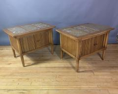 Tomlinson Furniture Co 1950s Pecan Wood End Tables Portuguese Marble Tops Tomlinson Usa - 1735021