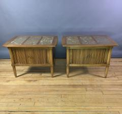 Tomlinson Furniture Co 1950s Pecan Wood End Tables Portuguese Marble Tops Tomlinson Usa - 1735022