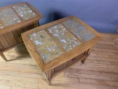 Tomlinson Furniture Co 1950s Pecan Wood End Tables Portuguese Marble Tops Tomlinson Usa - 1735024