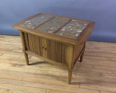 Tomlinson Furniture Co 1950s Pecan Wood End Tables Portuguese Marble Tops Tomlinson Usa - 1735026