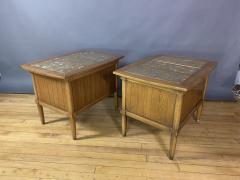 Tomlinson Furniture Co 1950s Pecan Wood End Tables Portuguese Marble Tops Tomlinson Usa - 1735027