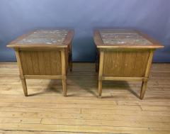 Tomlinson Furniture Co 1950s Pecan Wood End Tables Portuguese Marble Tops Tomlinson Usa - 1735028