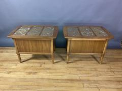 Tomlinson Furniture Co 1950s Pecan Wood End Tables Portuguese Marble Tops Tomlinson Usa - 1735031