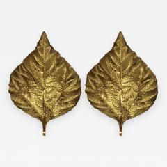Tommaso Barbi Pair of Large Brass Leaf Sconces by Tommaso Barbi - 576738