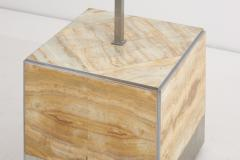 Tommaso Barbi Pair of Tomasso Barbi Side Table and Lamp in Alabaster Italy 1970s - 1504489