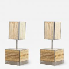 Tommaso Barbi Pair of Tomasso Barbi Side Table and Lamp in Alabaster Italy 1970s - 1509584