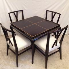 Tommi Parzinger Card or Small Dining Table Four Double X Back Chairs - 104327