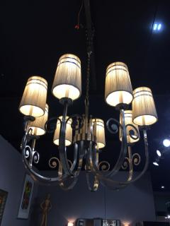 Tommi Parzinger Highly Important Rare Tommi Parzinger Hand Made Nickel Finish Chandelier - 1367664