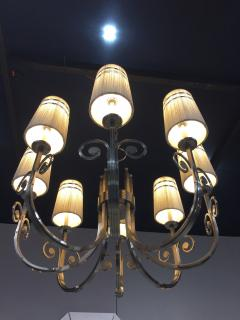 Tommi Parzinger Highly Important Rare Tommi Parzinger Hand Made Nickel Finish Chandelier - 1367669