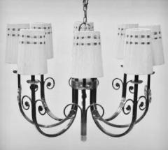 Tommi Parzinger Highly Important Rare Tommi Parzinger Hand Made Nickel Finish Chandelier - 1367691