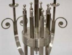 Tommi Parzinger Highly Important Rare Tommi Parzinger Hand Made Nickel Finish Chandelier - 1367692